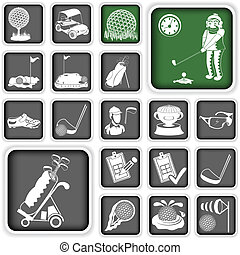 golf icons - Collection of different squared golf icons