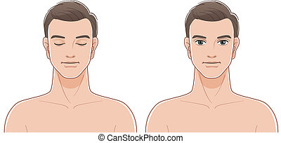 Front portraits of young man with eyes closed and opened....