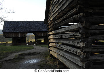 Outbuildings, Cades Cove - Farm buildings, Cade\\\'s Cove,...