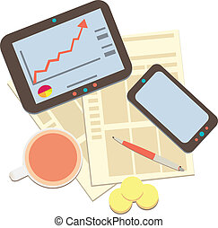 modern business and statistics - Tablet computer with...