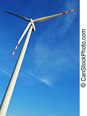 Wind turbines farm. Windmill