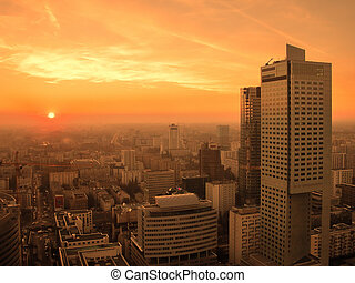 Warsaw downtown. - Sunset over Warsaw downtown