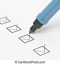 Blue Marker with Checkbox and Check.isolated on a white...