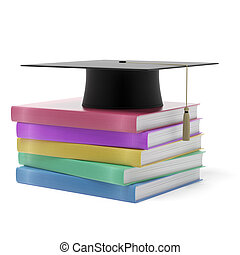 Grad hat with books isolated on a white background