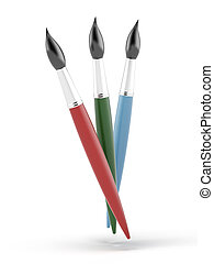 three paintbrushes isolated on a white background