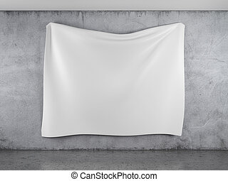 White banner with folds in interior