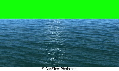 Water to green screen - Render of flight over a water...
