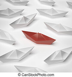 red paper boat  isolated on a white background