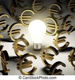 a lot of euro symbols in the dark