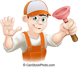 Cartoon Plumber holding Plunger - A cartoon plumber holding...