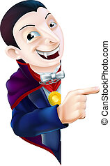 Cartoon Dracula Vampire Pointing - An illustration of a cute...