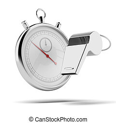 Whistle and stopwatch isolated on a white background