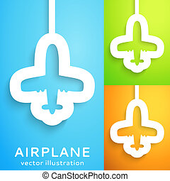 Air plane cut out of paper on color background Vector...