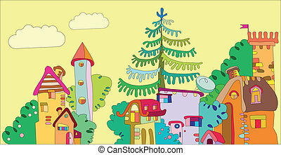 fairytale town with color fun houses and trees