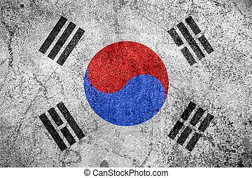 flag South Korea of or Korean banner on rough metal...