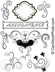 Frames and calligraphic ornaments for feel of pages
