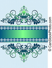 Satin green ornament with stripes