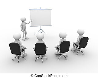 Meeting - 3d people - men, person presenting at a flip-chart...
