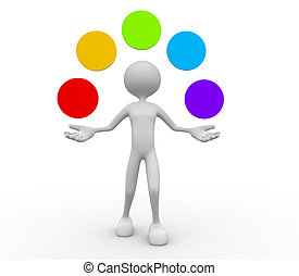 Jugglery - 3d people - man, person and juggling with empty...