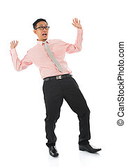Shocked young Asian businessman - Full body shocked young...