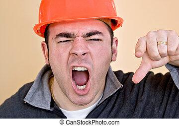 enojado, construcción, trabajador