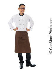 Asian male chef - Portrait of full body Asian male chef,...
