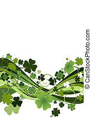 design for St Patricks Day with four and three leaf clovers...