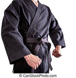 Karate fighters in black kimono - Fighter in black kimono...