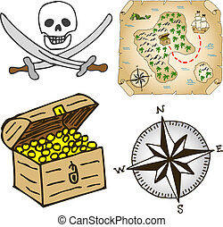 treasure map - vector illustration of a hand-drawn treasure...