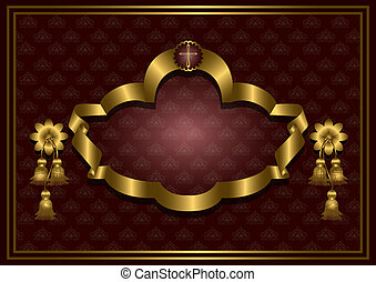 Golden frame with cross on satin burgundypatterned...