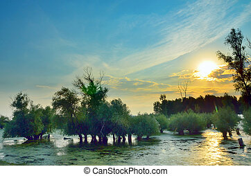 sunset on danube river - a beautiful sunset on the lake...