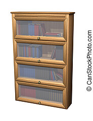 Bookcase - 3D digital render of a bookcase full of books...
