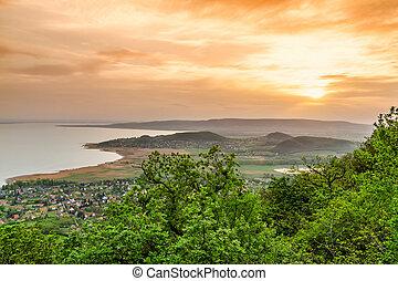 Lake Balaton - Landscape at lake Balaton, Szigliget,...