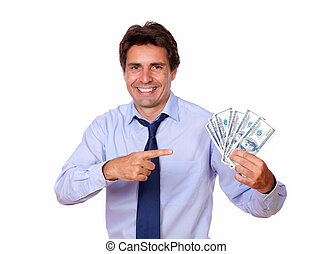 Adult man pointing and holding up cash money