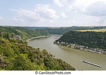 Lorelei - Loreley rock on the Rhine near St. Goarshausen,...