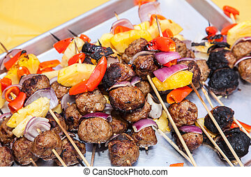 Grilled Meatball and Pineapple Kebabs - Delicious meatballs...