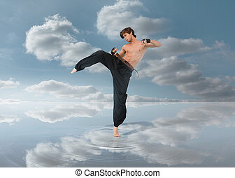Martial arts fighter over puddle with the blue sky in...