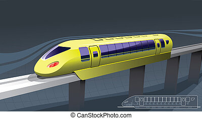fast train - illustration of a train of magnetic suspension....