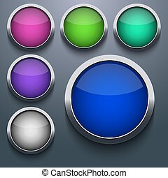 Vector web button set design on gray background. Eps10