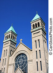 Twin bell towers in Lincoln Park