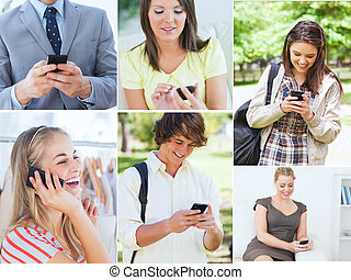 Collage of people on the phone