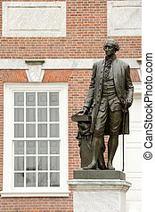 Independence Hall - George Washington statue with...