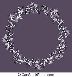 Floral wreath - Seamless floral wreath on dark background
