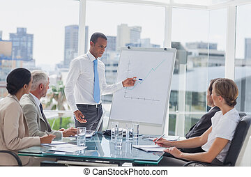 Manager pointing at a growing chart during a meeting in the...