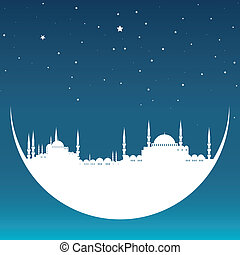 moon with mosque - vector illustration of the moon with...
