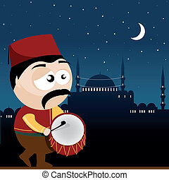 ramadan drummer - vector illustration of a ramadan drummer