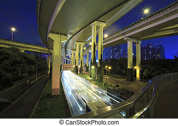 Long exposure photo High-speed urban viaduct construction...
