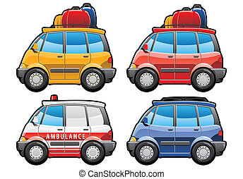 minivan, ambulance car - illustration of cars