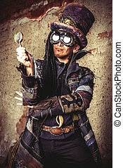 grunge hero - Portrait of a steampunk man in the ruins