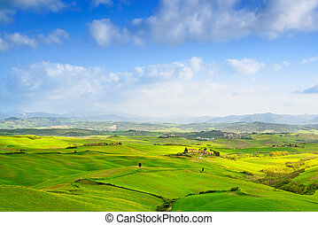 Tuscany, Rural Landscape near Volterra in spring, Italy.